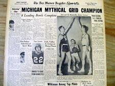 1948 newspaper MICHIGAN UNIVERSITY Wolverines COLLEGE FOOTBALL NATIONAL CHAMPION