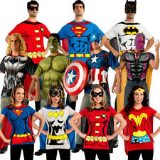 Superhero T-Shirt Adults Fancy Dress Comic Book Mens Ladies Costume Outfit Top