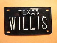 Vintage Personalized TEXAS WILLIS Mini Bike Vanity Name License Plate Sign RARE