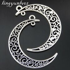 Antique Silver Alloy Hollow Moon Crescent Pendant Charms Finding Craft 15x 50473