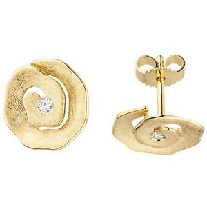 Diamantohrringe, Brillant Ohrstecker rund 12 mm, 585 Gold, 2 Brillanten, 2,1 gr