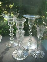 LOT OF 4 - Crystal Cut Glass Vintage Antique Candle Stick Holders Elegant Style