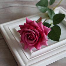Velvet Rose Fake Silk Flowers Leaf Artificial Home Wedding Decor Bridal GD