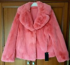 New!Kendall + kylie faux fur reversible coat,in size M,in coral.