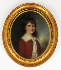 More details for beautiful antique georgian oil painting of a boy- oval portrait named child rare