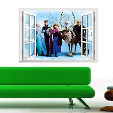 princess Cartoon Window 3D Wall Sticker PVC Children Room Decoration Removabl