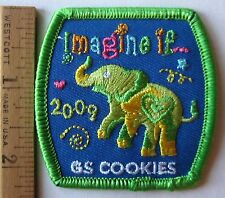 "Girl Scout 2009 COOKIE SALES PATCH ""Imagine If"" Elephant Selling Badge NEW"