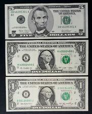 Lot de Billets 2 x 1$ et 5$ dollars États - Unis, USA   TTB