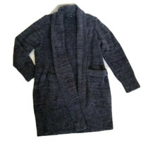 Barefoot Dreams Womens M Navy Blue Cozychic Open Front Cardigan Sweater Long Slv