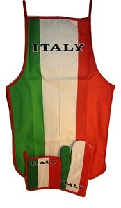 Country of Italy Italian Green White Red BBQ Barbeque Apron Cook Set
