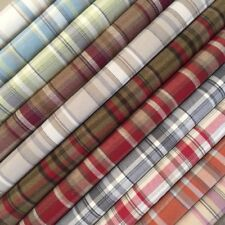 5M PRESTIGIOUS THICK TARTAN CHECK WOOL UPHOLSTERY CURTAIN BROWN  CREAM FABRIC