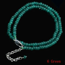 2x4mm  Faceted Green Agate Roundlle Gemstone Necklaces 18""