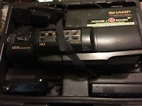 sharp jetzoom 12. sharp l250 vhs camcorder video camera/case/cables/battery/charger untested/ sharp jetzoom 12