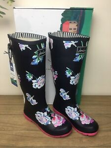 New Joules Printed Wellies With Adjustable Back Gusset Size 6 Navy Floral Womens