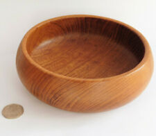 Vintage teak wood nut bowl 6 inch wooden dish from Thailand