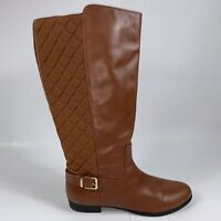 Isaac Mizrahi Quilted Leather Tally Saddle Brown Tall Wide Shaft Riding Boots 12