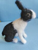 Needle felted wool black and white rabbit mini sculpture one of a kind