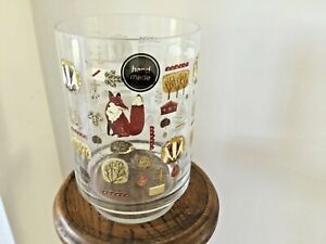 Hand Made Footed Clear Glass Vase with animals/forna transfers