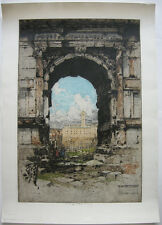 Luigi Kasimir (1881-1962) Rom Titusbogen Orig Farbradierung 1928 signiert Italia