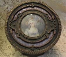 Antique Bronze Jewelry, Powder Box~ Guilloche Enamel Painted Portrait Miniature