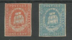 BRITISH GUIANA THE RARE 1853-9 1c & 4c UNUSED SEE SCANS