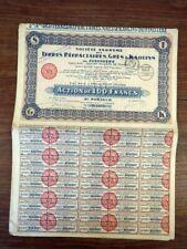 5x Action Warrant Bond / TERRES REFRACTAIRES GRES  KAOLINS FINISTERE (Juin 1927)