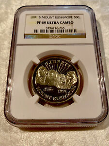 1991 S Mount Rushmore PF 69 Ultra Cameo Silver Dollar S$1 NGC Proof