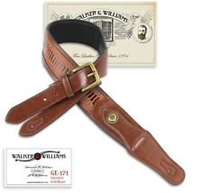 Walker & Williams GE-171 Chestnut Padded Strap with Brass Buckle & Coin Conchos