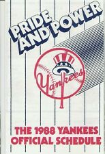 """1988 NEW YORK YANKEES MLB POCKET SCHEDULE: """"PRIDE AND POWER"""" - FREE SHIPPING!"""