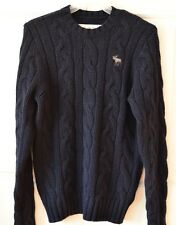 Abercrombie & Fitch Women's L Wool Blend Navy Cable Knit Sweater Logo