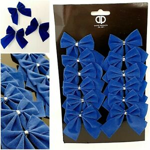 12x Navy Blue VELVET BOWS Christmas Tree Decoration Tinsel 6cm Bow Baubles Craft