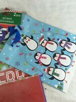 2pc Christmas Gift Bags Penguins Design 6.15in x 8.5in x 3.5in