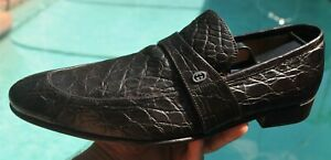 Gucci  MANS GG crocodile Hide  LOAFERS SHOES GUCCI BRAND  SIZE 8 D 'G' US 9 D