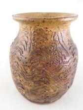 "Heavy Textured Brutalist Vintage Studio Pottery Vase Vessel - Signed Sue - 5"""