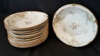 Limoges Theodore Haviland China H553 Pink Roses Brushed Gold Butter soup bowl