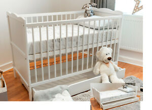 Baby Cot Bed 120x60cm with Sprung or Foam Mattress and Optional Bedding & Drawer