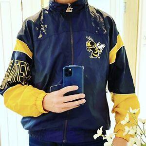 Starter Georgia Tech NCAA Vintage Blue & Yellow Bee Jacket Windbreaker M VGC