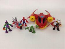 LOT (6) Playskool Heroes Marvel Superheroes Spider-Man Thor Toy Figures Vehicles