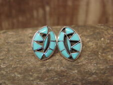 Zuni Indian Jewelry Sterling Silver Turquoise Inlay Post Earrings!