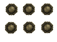 "Set of 6 Western Saddle Horse Tack 1-1/2"" Antique Brass Engraved Berry Conchos"
