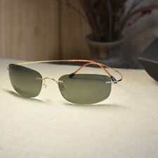 Aviator Titanium polarized sunglasses mens Gold glasses G15 green lenses 7g