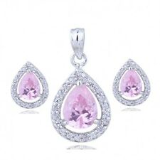 18K WHITE GOLD GP & GENUINE CZ & AUSTRIAN CRYSTAL PINK  NECKLACE & EARRING SET