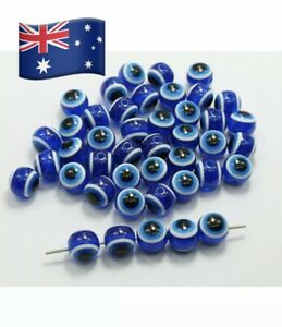 25pcs  Acrylic Kabbalah Evil Eye Ball Round Beads 8mm Craft Art Girls Necklace