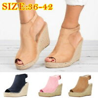 Women Wedges Sandals Strap Buckle Espadrille Fashion Open Fish Mouth Shoe JP