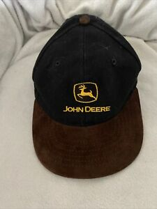 John Deere Corporate Account Black With Brown Suede Brim, OS, Yellow Logo