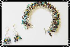 Darling MULTICOLOR Charm BRACELET &Earring SET-Vintage SQUARE Beads-FRINGE Style