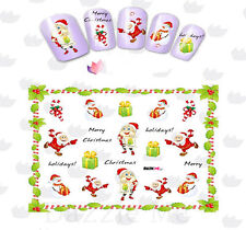 Nail Art Sticker Water Decals Transfer Stickers Xmas Candy Cane Santas (DbL2335)