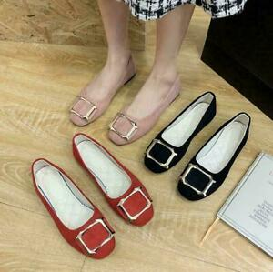 Womens Ballet Ballerina Dolly Pumps Ladies Flat Slip On Loafers Suede Shoes Size