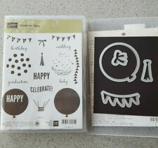 Stampin Up! Celebrate Today Stamps & Balloon Thinlit Dies - Euc