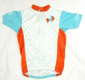 Mt Borah men's cycling jersey white patterned size S short sleeve 1/2 zip